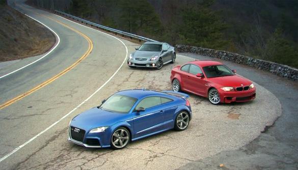 Video 'Đuôi xe săn đuổi' của Ô tô và Người lái: Audi TT RS so với BMW 1 Series M Coupe và Infiniti IPL G Coupe